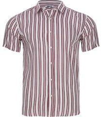camisa a rayas sin bolsillo color vino, talla l