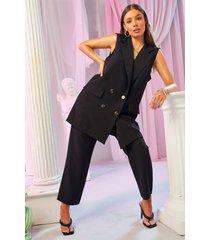 getailleerde broek met geplooid detail, zwart