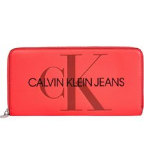 billetera sculpted monogram rojo calvin klein