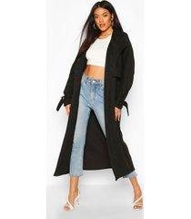 suedette trench coat, black