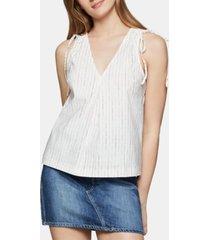 bcbgeneration striped drawstring-shoulder top