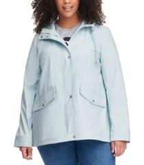 levi's trendy plus size hooded lightweight rain jacket
