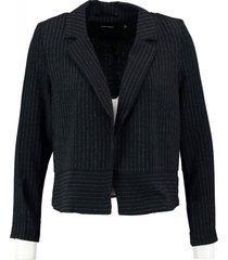 vero moda korte soepele donkerblauwe structure krijtstreep blazer - niet gevoerd
