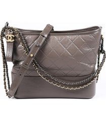 chanel gabrielle medium gray quilted hobo bag gray sz: s