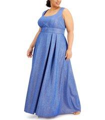morgan & company trendy plus size cutout-back glitter gown