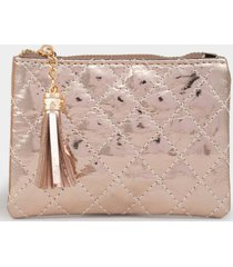 rosa quilted coin pouch - rose/gold