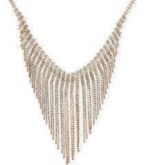 "inc gold-tone rhinestone angled fringe statement necklace, 18"" + 3"" extender, created for macy's"