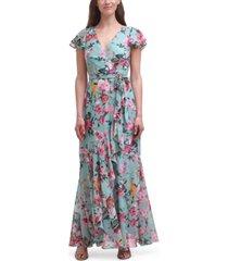 eliza j floral-print chiffon faux-wrap gown