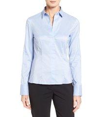 boss bashina stretch poplin blouse, size 12 in light blue at nordstrom