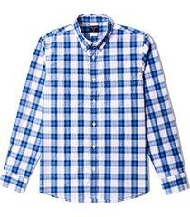camisa manga larga cuadros para hombre - blanco