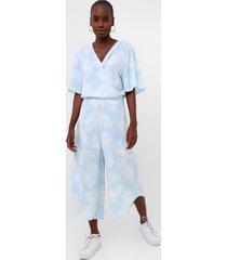 macacã£o lunender pantacourt folhagem azul/branco - azul - feminino - viscose - dafiti
