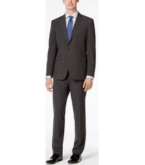 kenneth cole reaction men's slim-fit ready flex stretch charcoal micro-grid suit