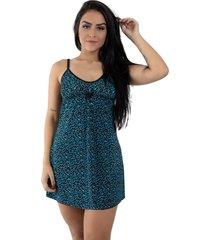 camisola linha noite liganete azul com preto - preto - feminino - elastano - dafiti