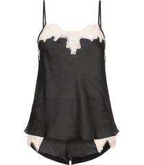 pj cami & short satin contrast lace pyjamas svart hunkemöller
