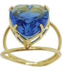 anel kumbayá coração rainbow banho de ouro 18k zirconia feminino