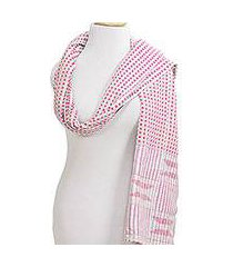 cotton blend kente shawl, 'festive squares' (ghana)