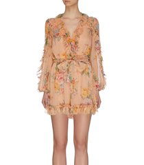 'zinnia' plunge ruffle trim floral print playsuit