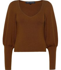 joss knits puff sleeve jumper stickad tröja brun french connection