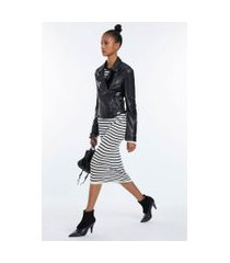 vestido de tricot longo manga longa listras detalhe pregas cintura preto/off white