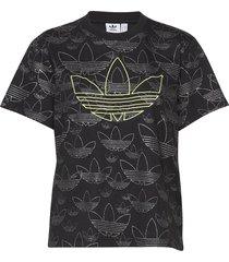 cropped t shirt t-shirts & tops short-sleeved svart adidas originals