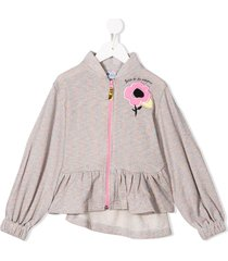 raspberry plum sweetie hooded top - grey