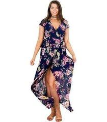vestido de playa con estampado floral de verano manga larga boho vestidos largos largos - azul