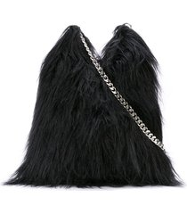 mm6 maison margiela fluffy shoulder bag - black