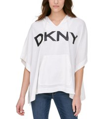 dkny logo poncho hooded sweatshirt