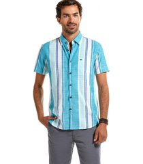 camisa manga corta rayas michigan azul ferouch