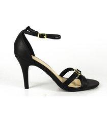 sandalia con talonera y amarre al tobillo tacón mediano negro  con herraje bamboo ref. tully 03