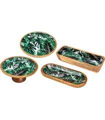 conjunto leafage com bandeja, prato para bolo e 2 travessas em madeira bon gourmet verde - kanui