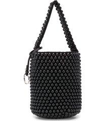 jil sander beaded bucket bag - black