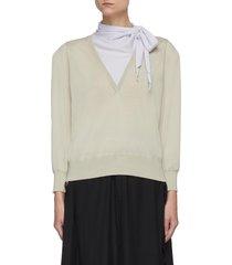 neck tie layer gauge knit v-neck sweater