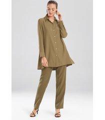 natori sanded twill long sleeve tunic top, women's, green, size l natori