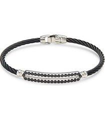 14k white gold, stainless steel, & black onyx bracelet