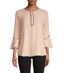 calvin klein women's piped flare-sleeve blouse - blush - size s