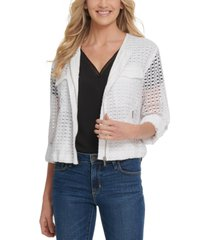 dkny cotton crocheted collarless jacket