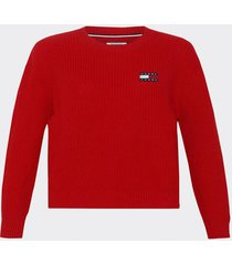 sweater badged rojo tommy jeans