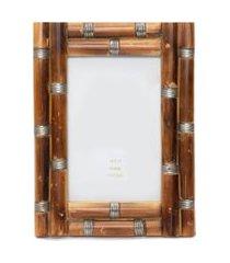 porta retrato mdf de pedaços de madeira e metal - marrom