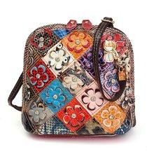 borsa a tracolla in pelle vera con patchwork floreale