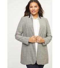 lane bryant women's plaid blazer with stand-up collar 28p grey & white windowpane plaid
