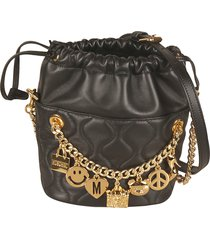 moschino charm detail quilted bucket bag