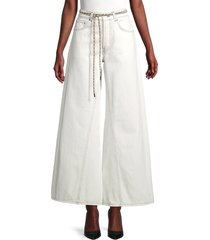 ganni women's belted wide-leg flare jeans - bright white - size 28 (4-6)