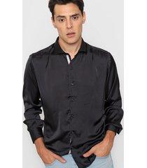 camisa negra new astor seda slim fit
