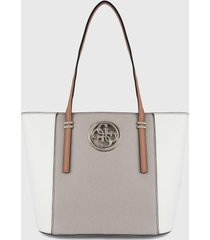bolso blanco-taupe guess
