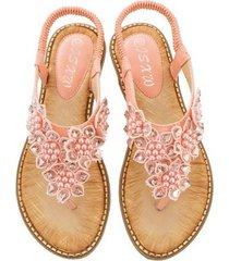 sandalias de verano con punta redonda de flores hechas a mano mujer-rosa