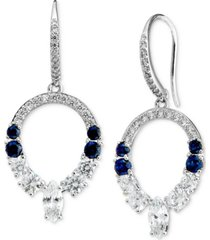 eliot danori silver-plated cubic zirconia & synthetic gemstone open drop earrings, created for macy's