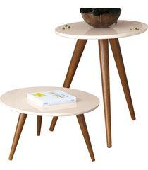 kit mesa lateral com mesa de centro decorativa lyam decor sofia off white