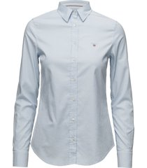 stretch oxford solid slim shirt overhemd met lange mouwen blauw gant