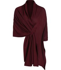 high low asymmetrical knit solid cape